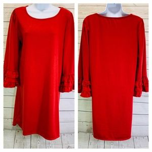 Max Studio Red Solid Shift Dress Bell Sleeves